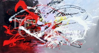 ABSTRACT OIL PAINTING ( BLACK,GREY,RED)