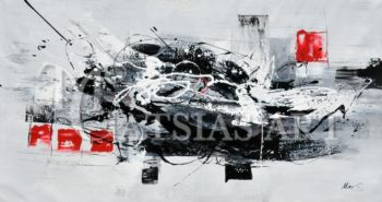 ABSTRACT OIL PAINTING ( BLACK-RED )