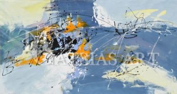 ABSTRACT OIL PAINTING ( BLUE-GREY,ORANGE,BLACK)